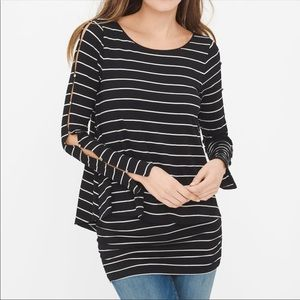 White House black market Double Layer striped top